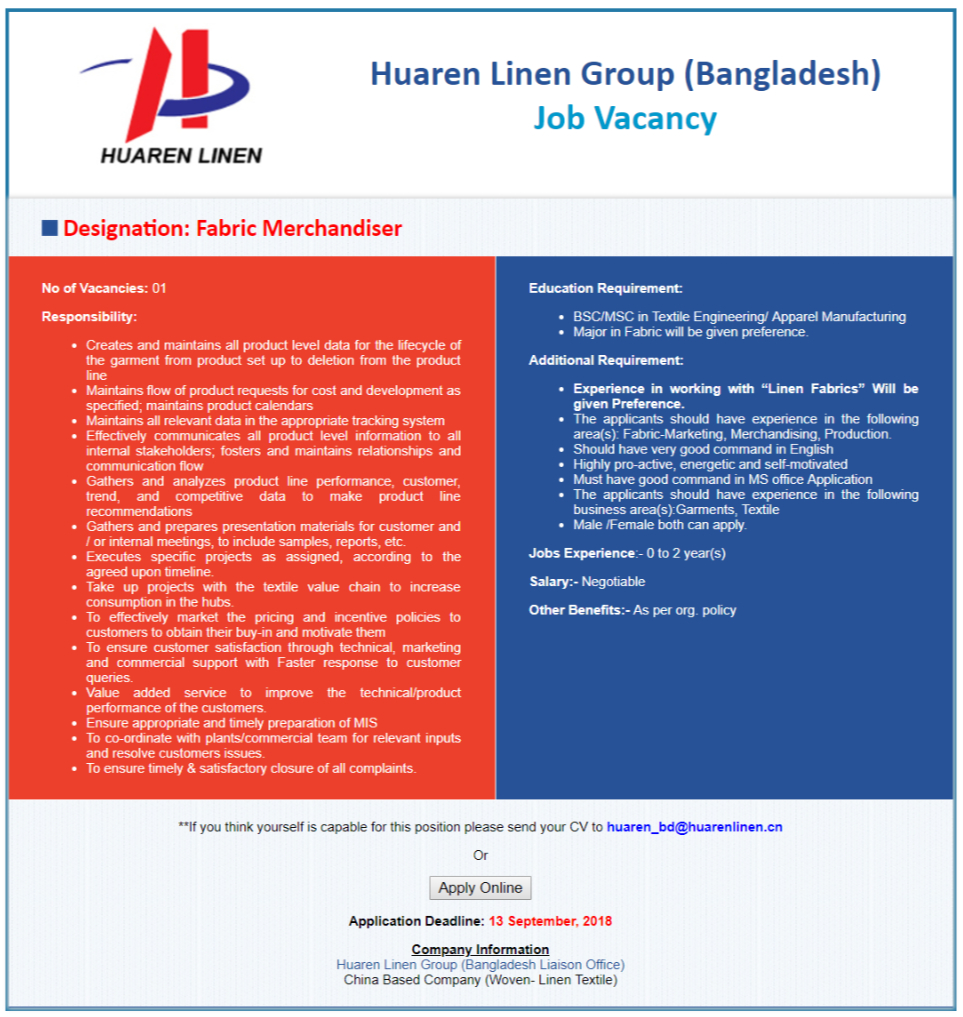 Huaren Linen Group job circular