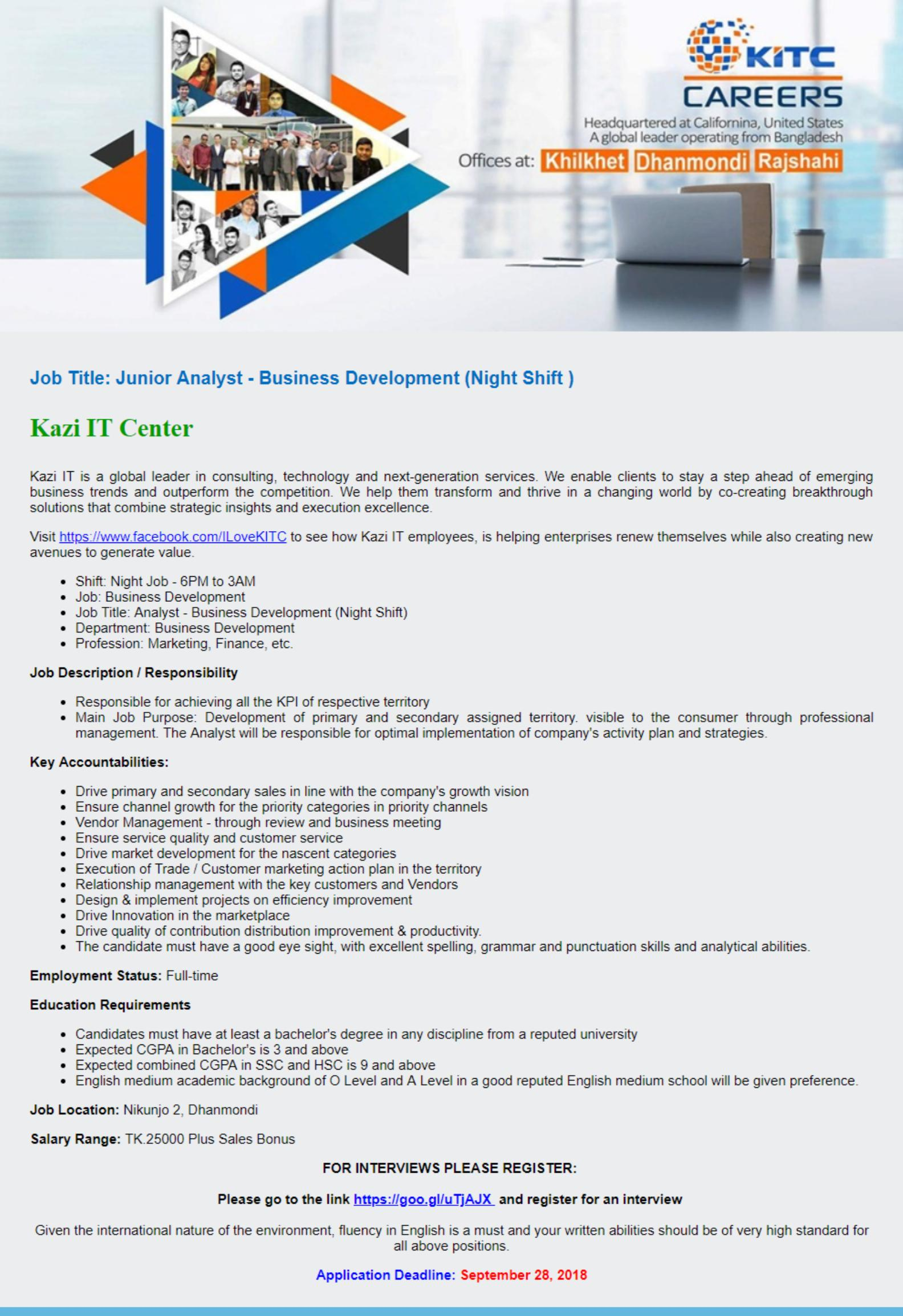 Kazi IT Center Limited Job Circular