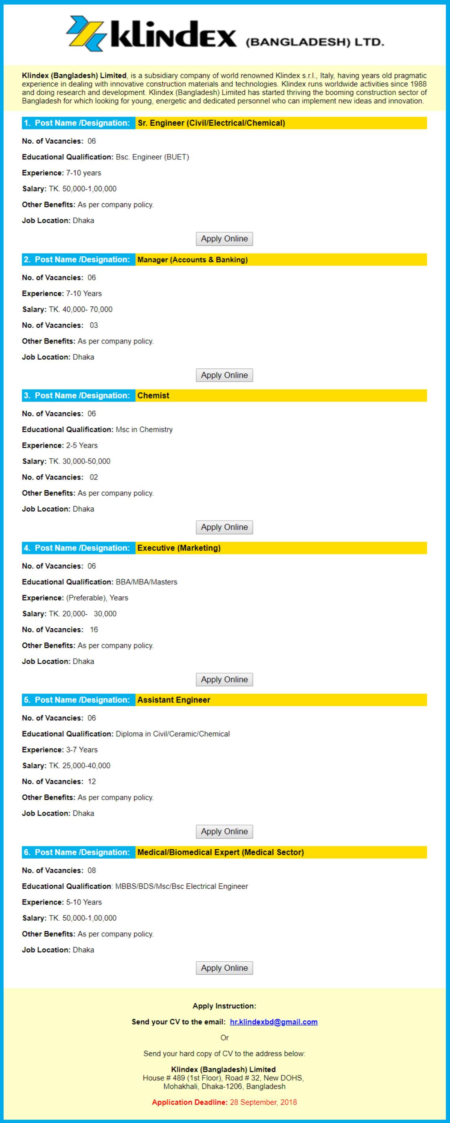 Klindex Bangladesh Job Circular