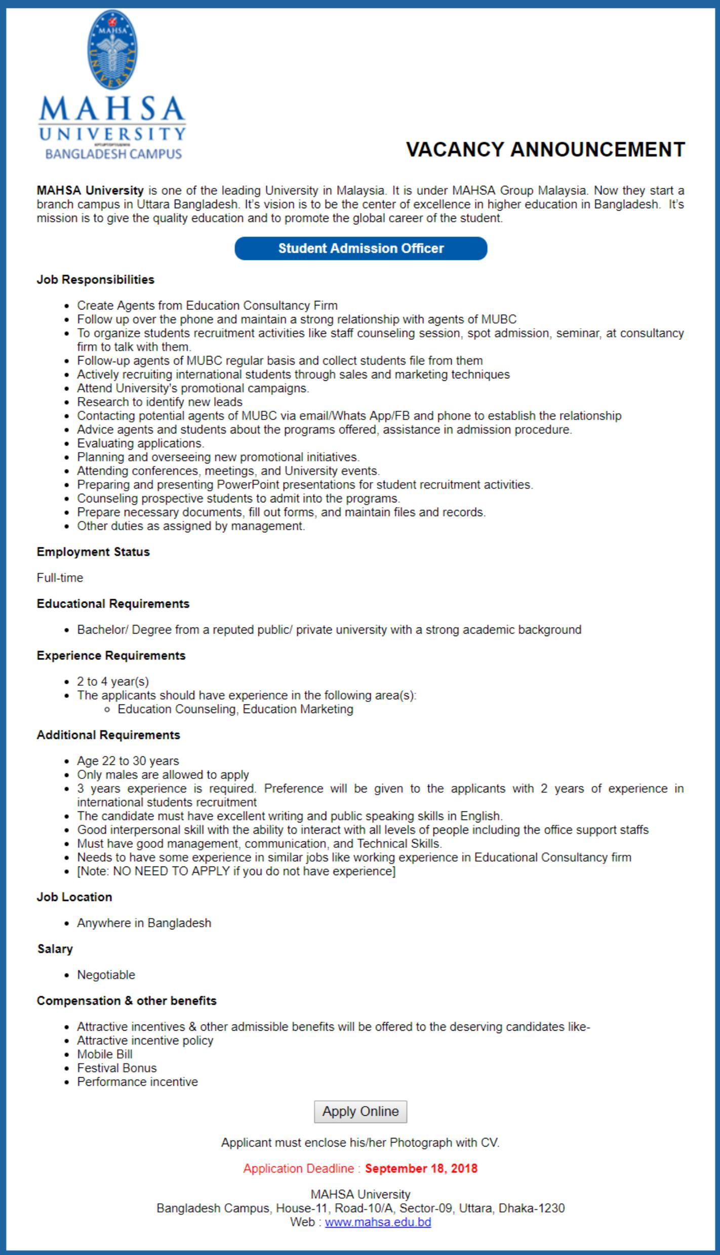 Mahsa University Job Circular