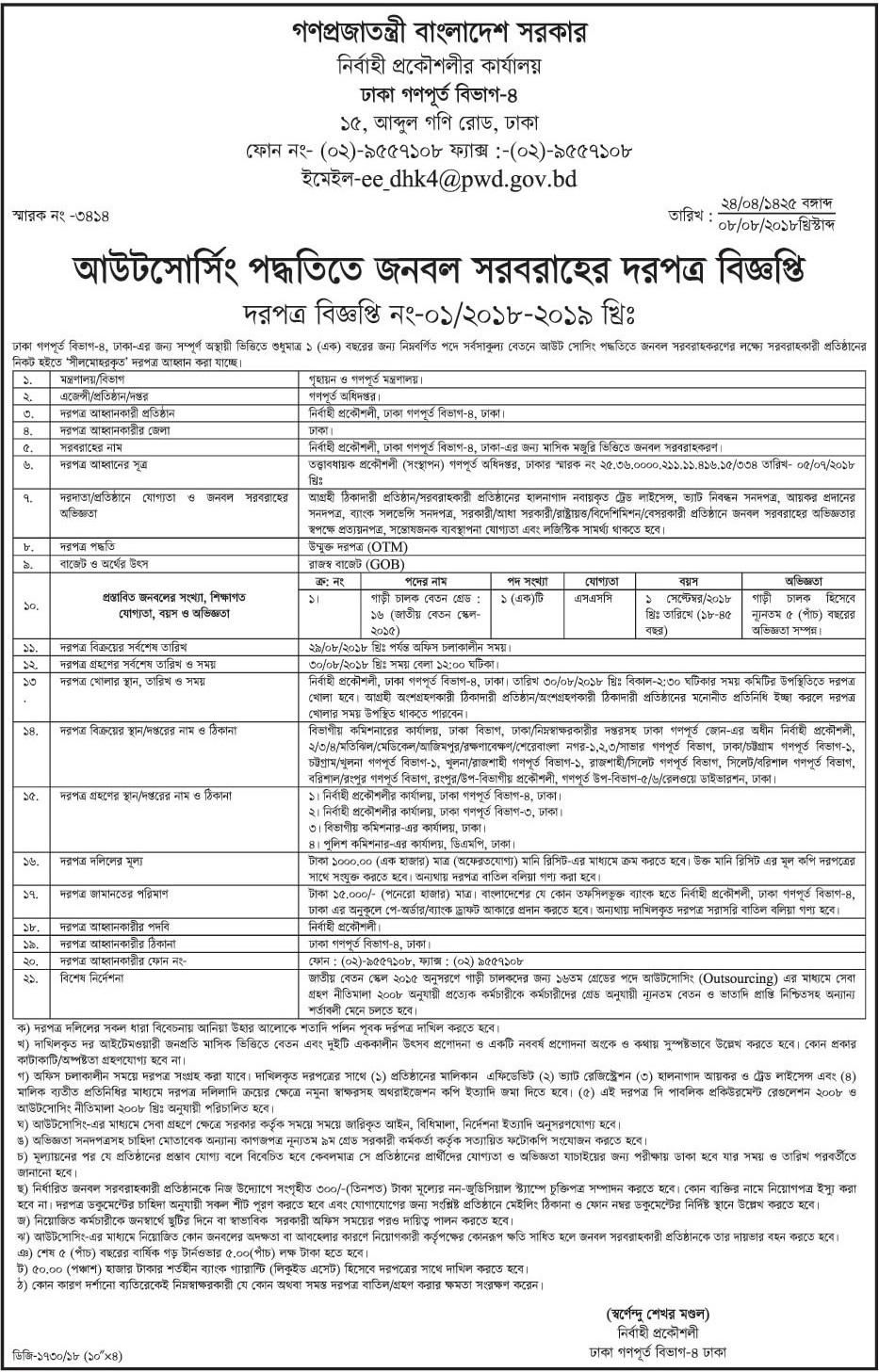 PWD Job Circular Apply Process