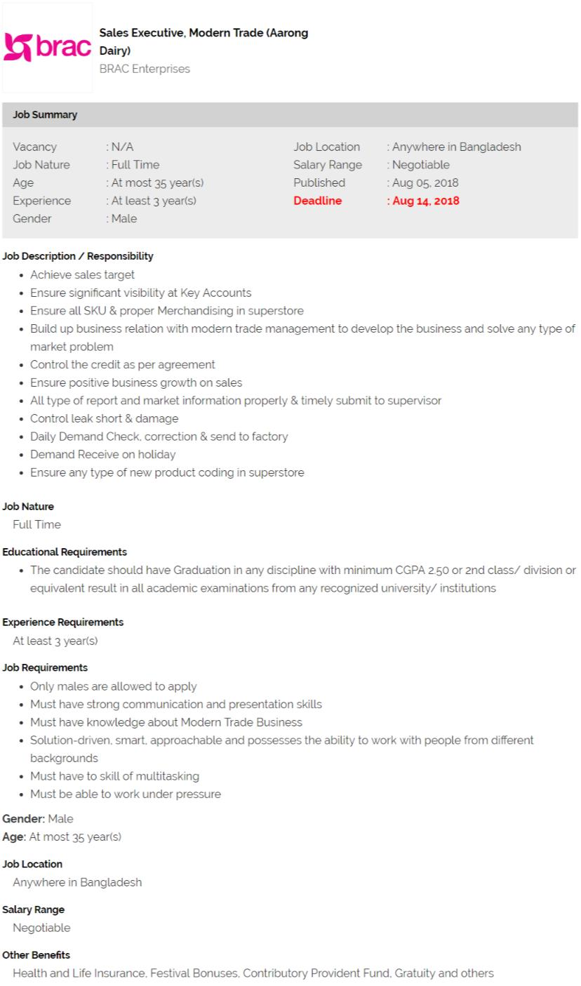 BRAC Enterprises Job Circular 2018
