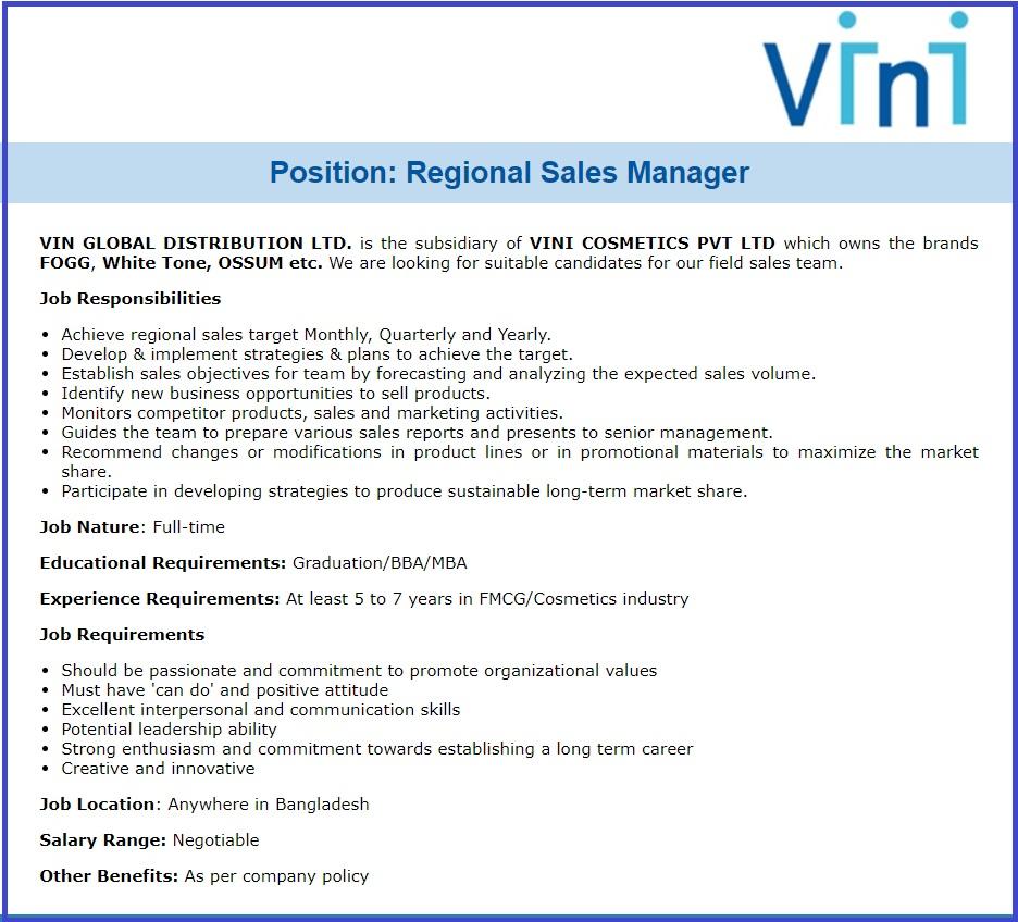 Vin Global Distribution job circular