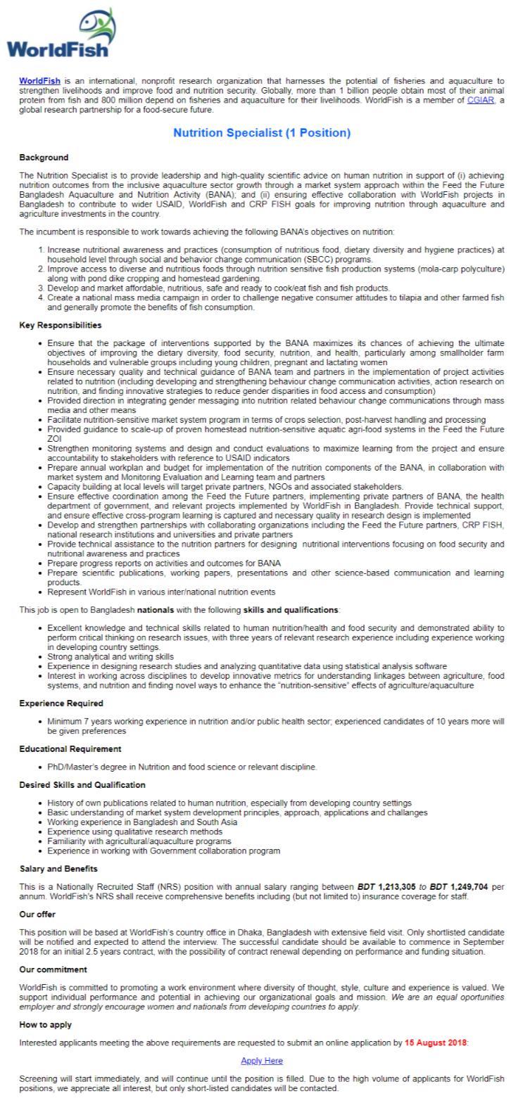 WorldFish Job Circular 2018