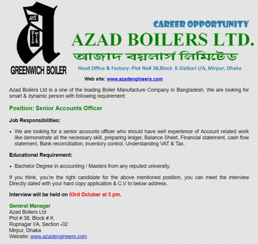 Azad Boilers Ltd Job Circular