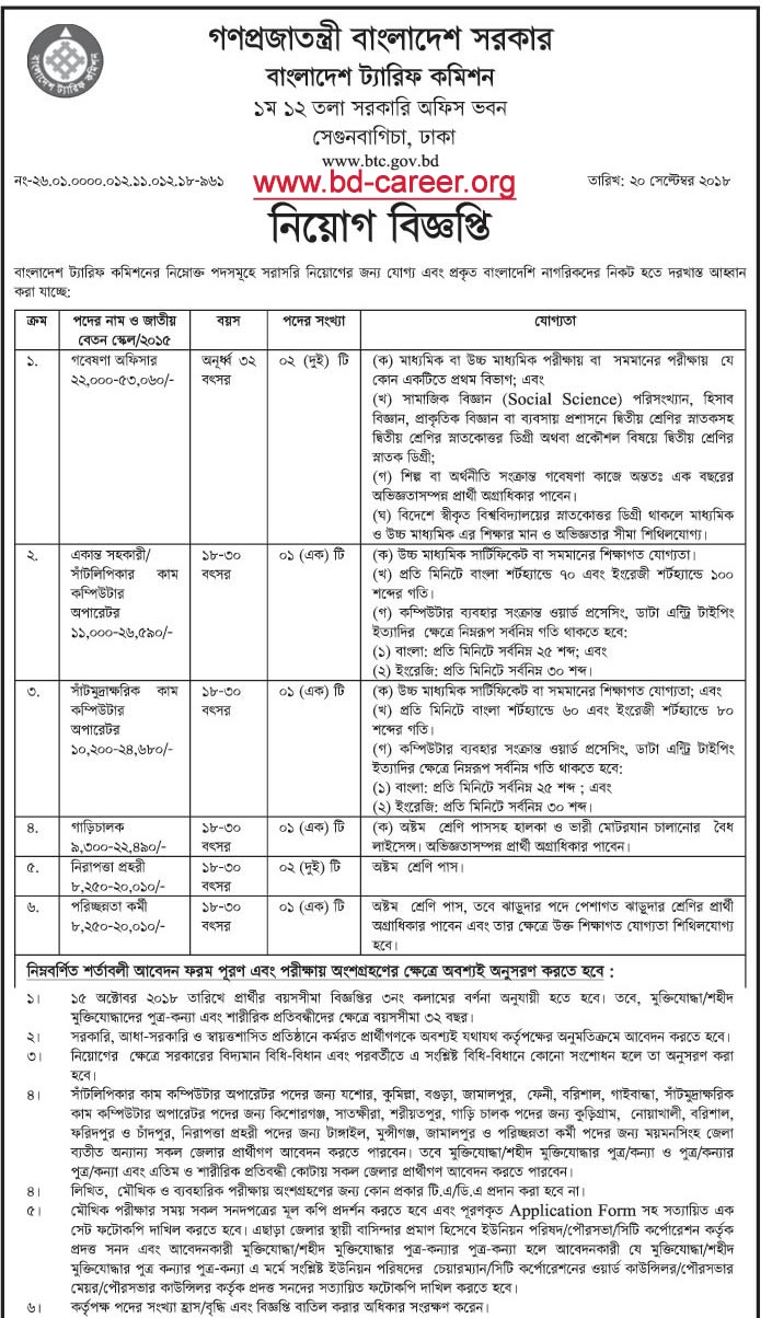 Bangladesh Tariff Commission BTC Job Circular