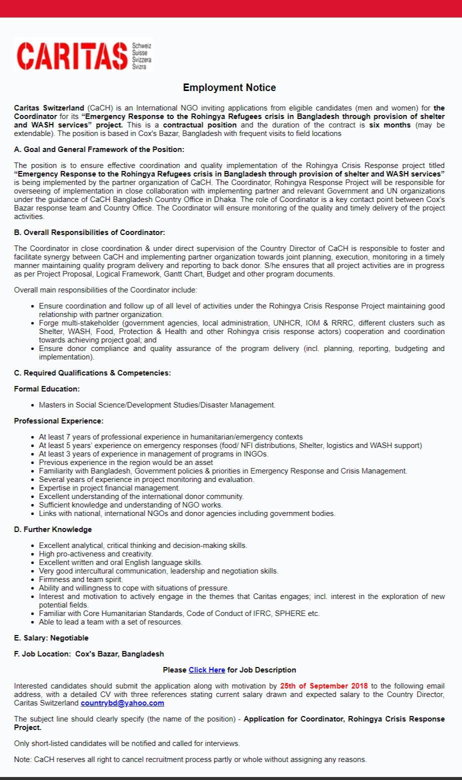 Caritas Switzerland Job Circular