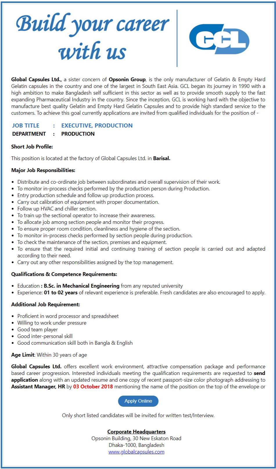 Global Capsule Ltd Job Circular
