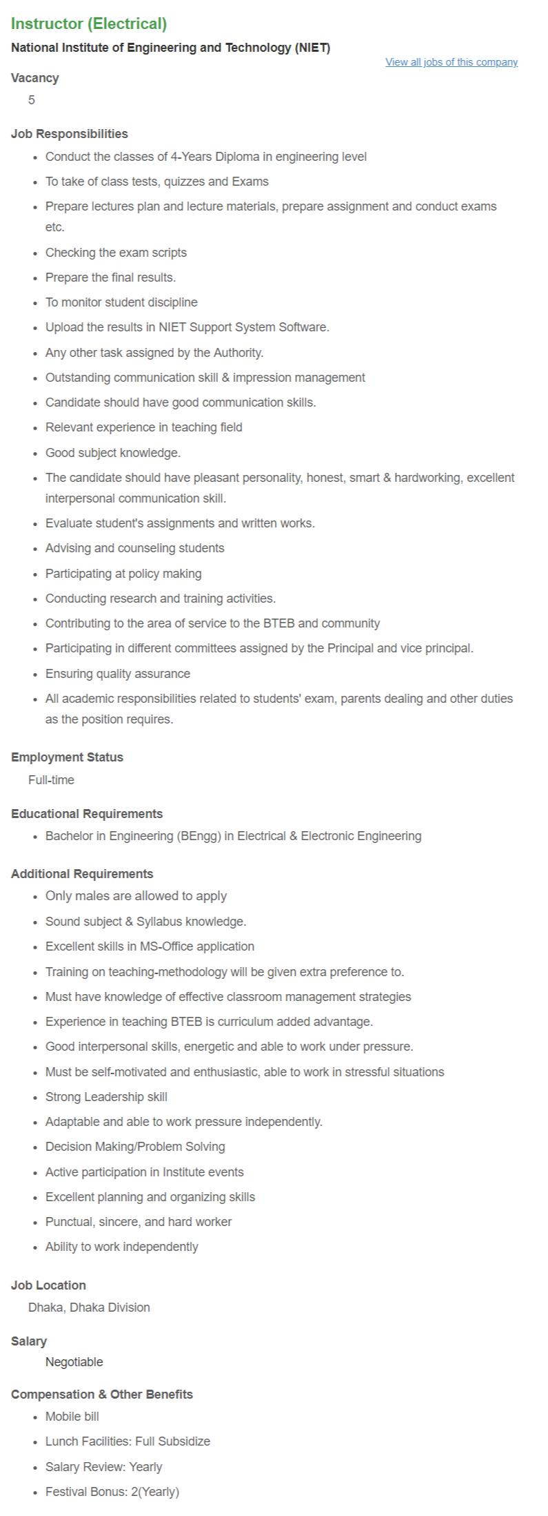 Instructor (Electrical) _ National Institute of Engineering and Technology (NIET) __ Bdjobs com