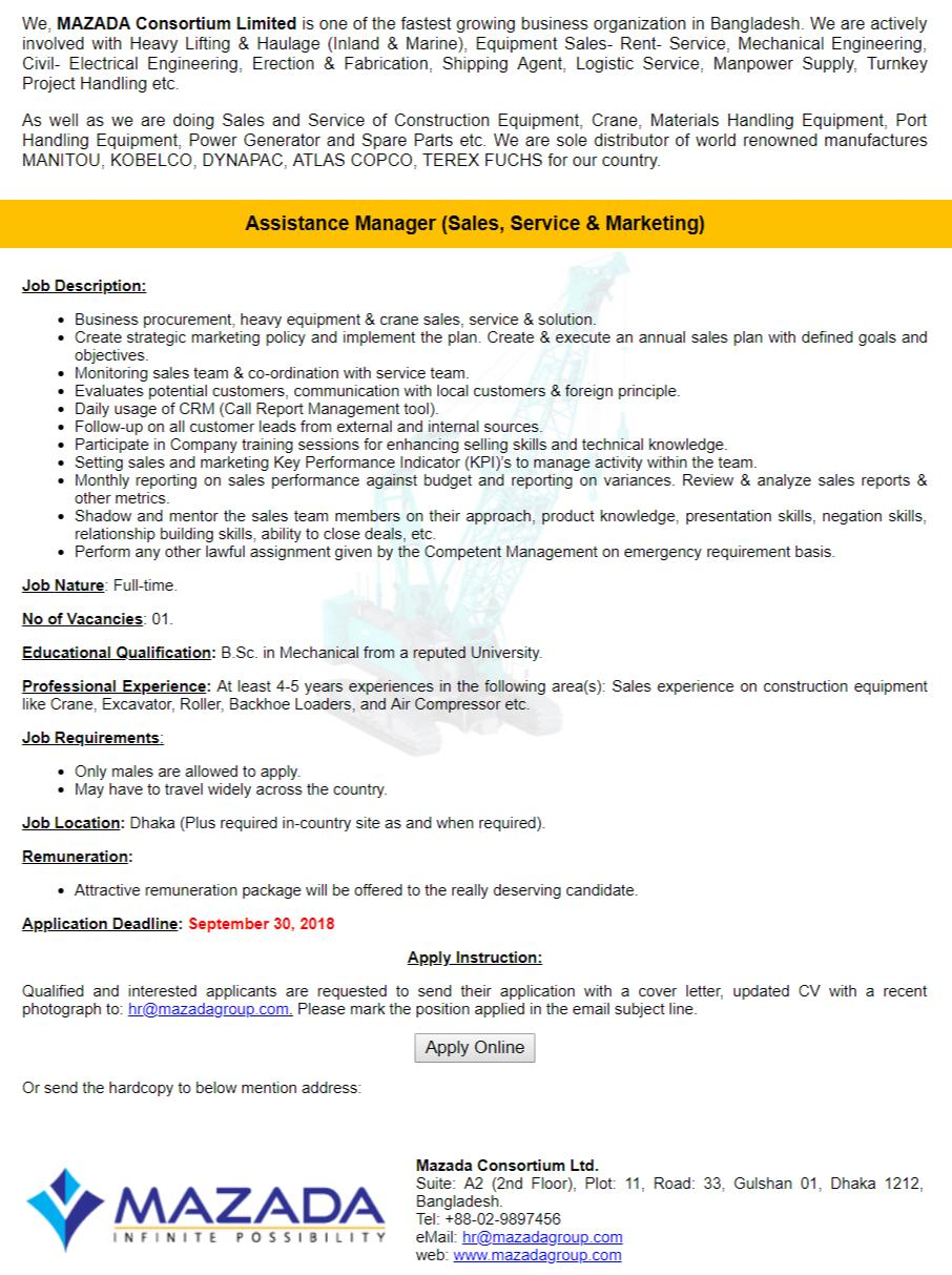 Mazada Consortium Ltd Job Circular