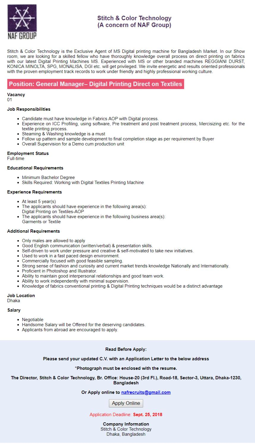 Naf Group Job Circular