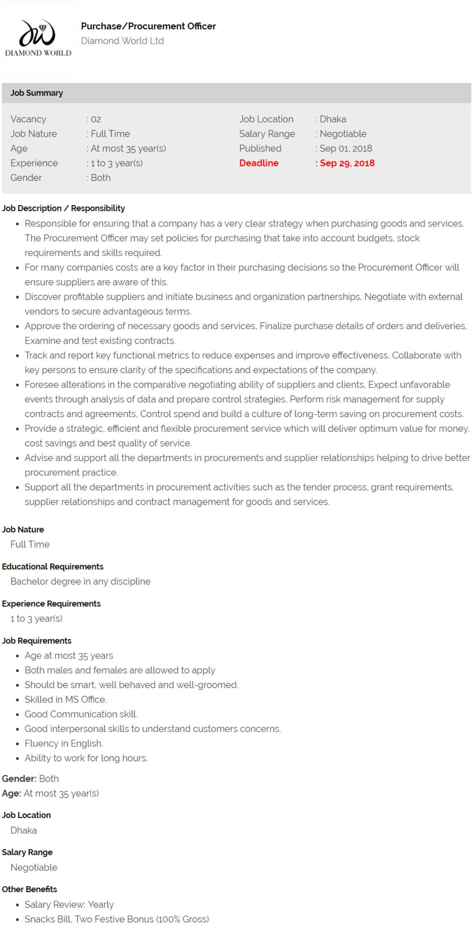 Diamond World Ltd Job Circular