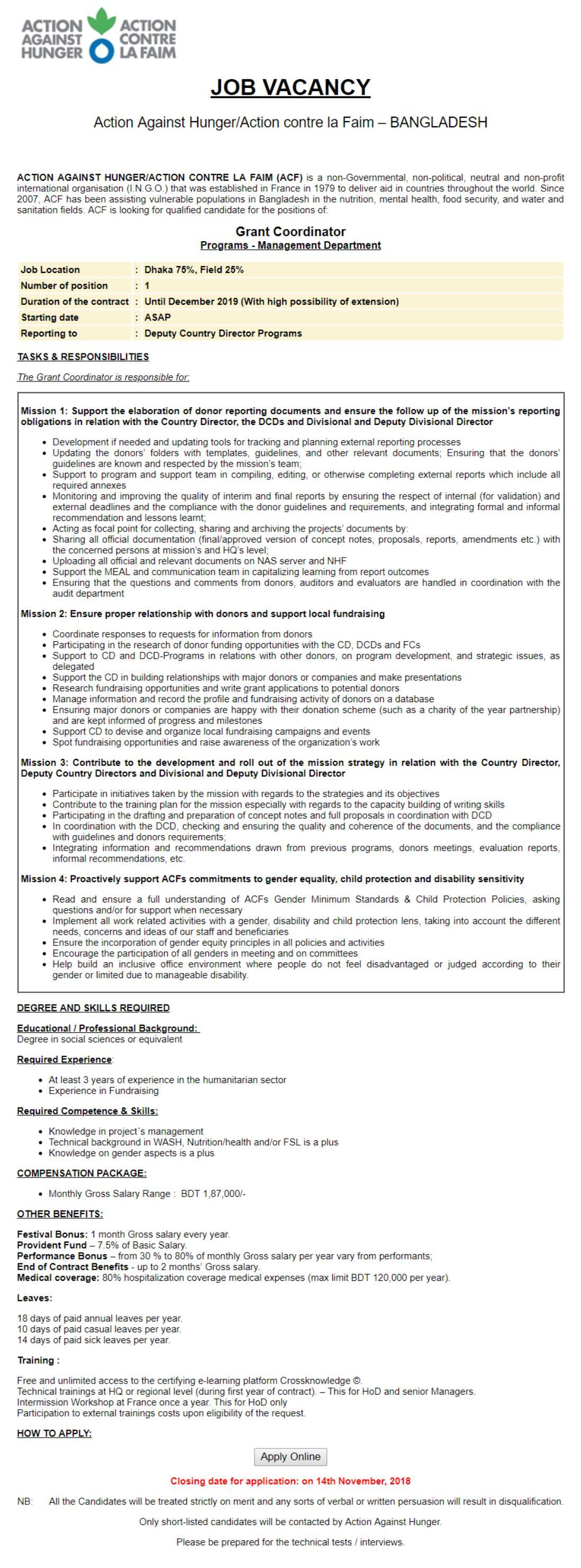 Action Contre ACF Job Circular