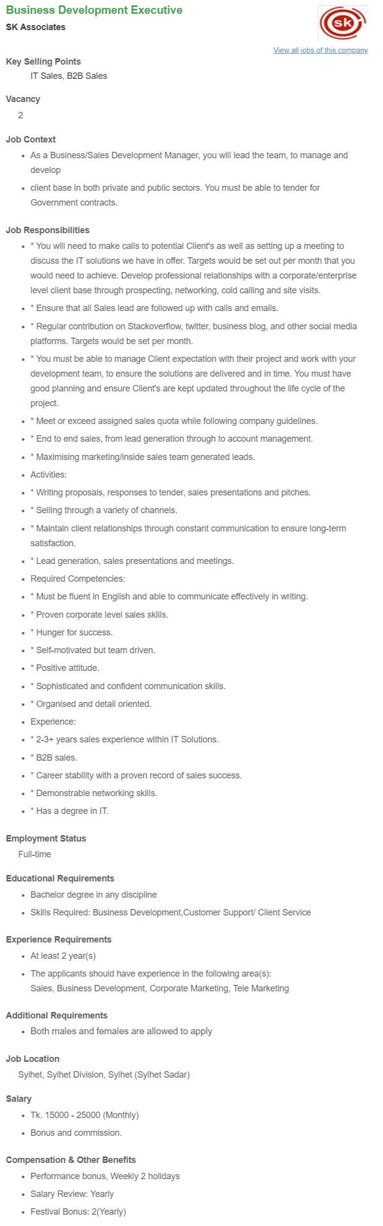 SK Associates Job Circular - Business Development Executive