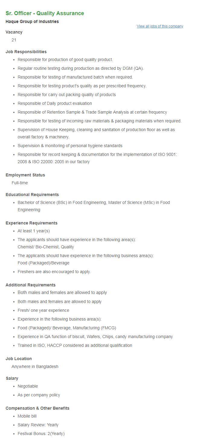 Haque Group Industries Job Circular