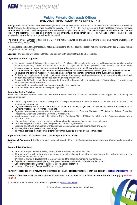 IBI International Job Circular