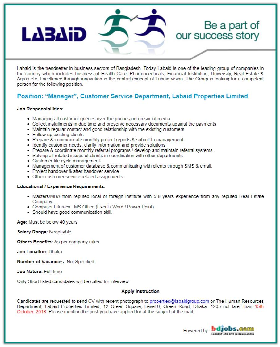 Labaid Properties Ltd Job Circular 2018