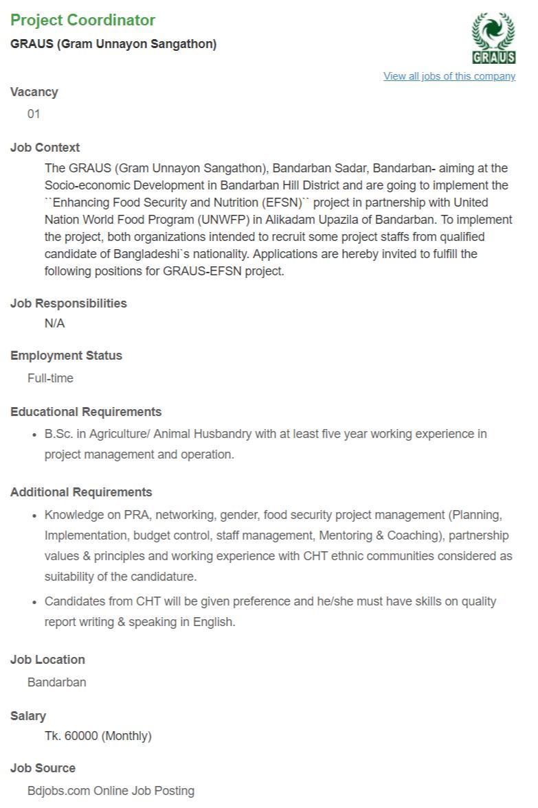 Gram Unnayon Sangathon job circular