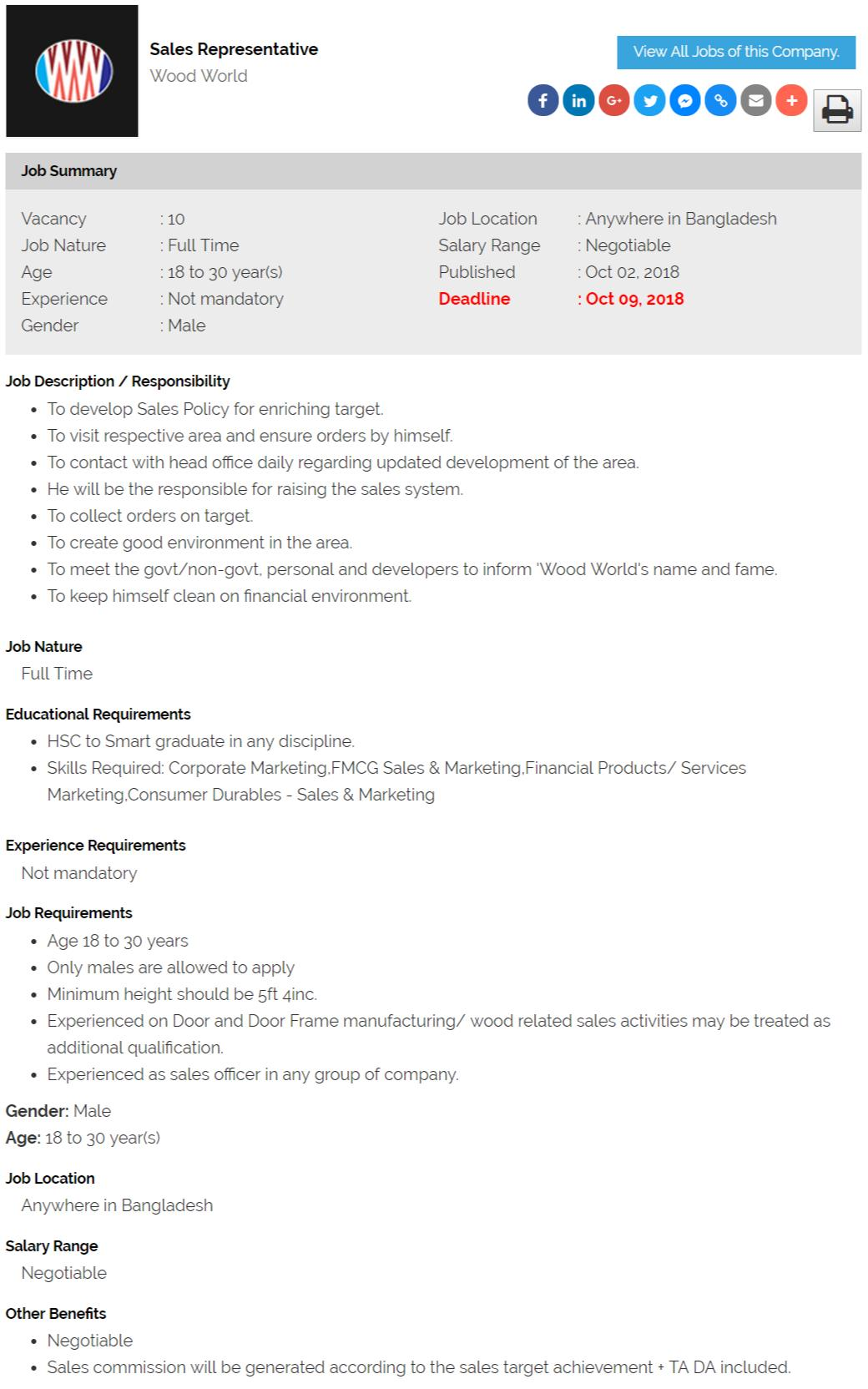Wood World Job circular - Sales Representative