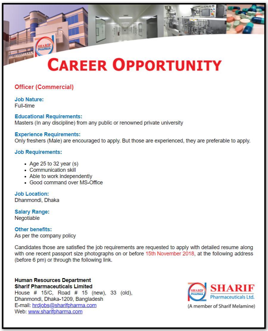 Sharif Pharmaceuticals Limited Job Circular
