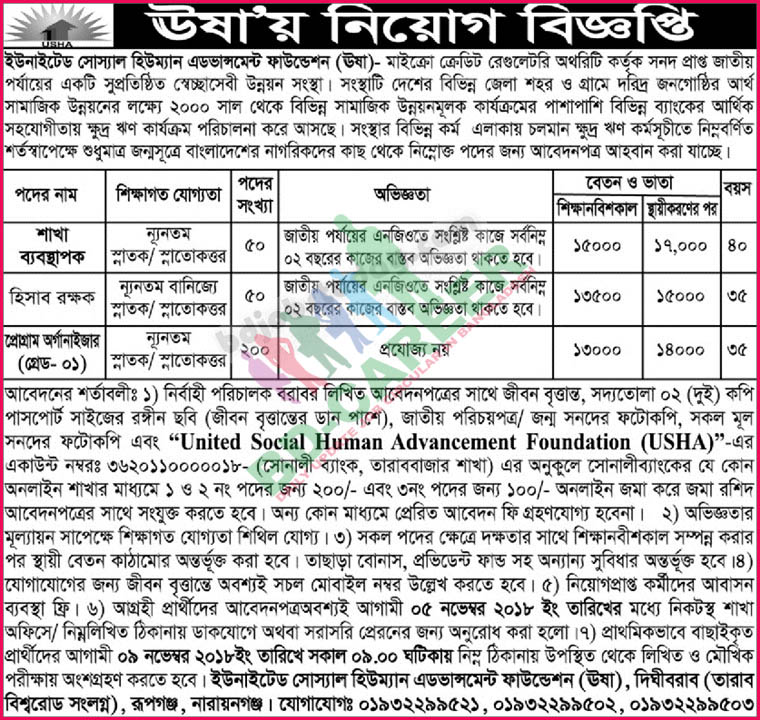 USHA Foundation Job Circular