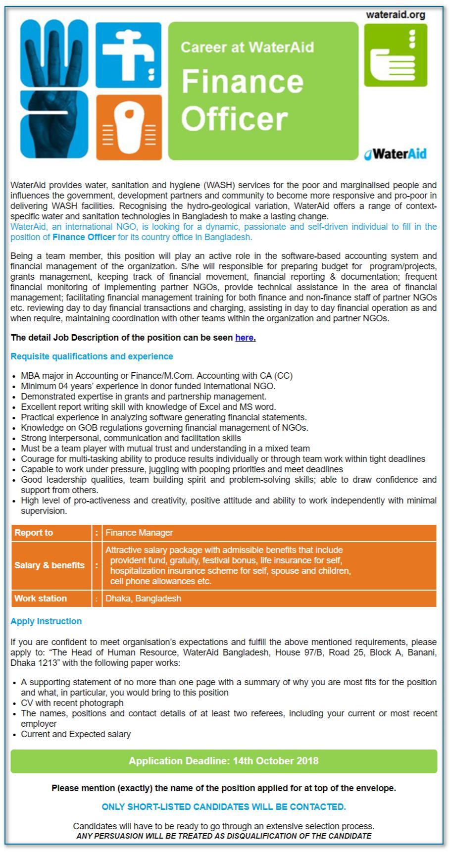 WaterAid Bangladesh Job Circular Apply