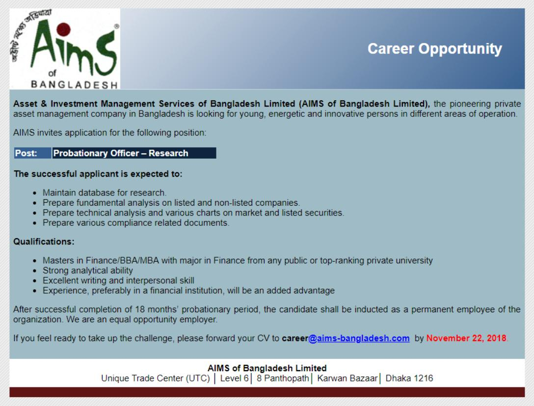 AIMS of Bangladesh Limited - See AIMS Bangladesh Job Circular