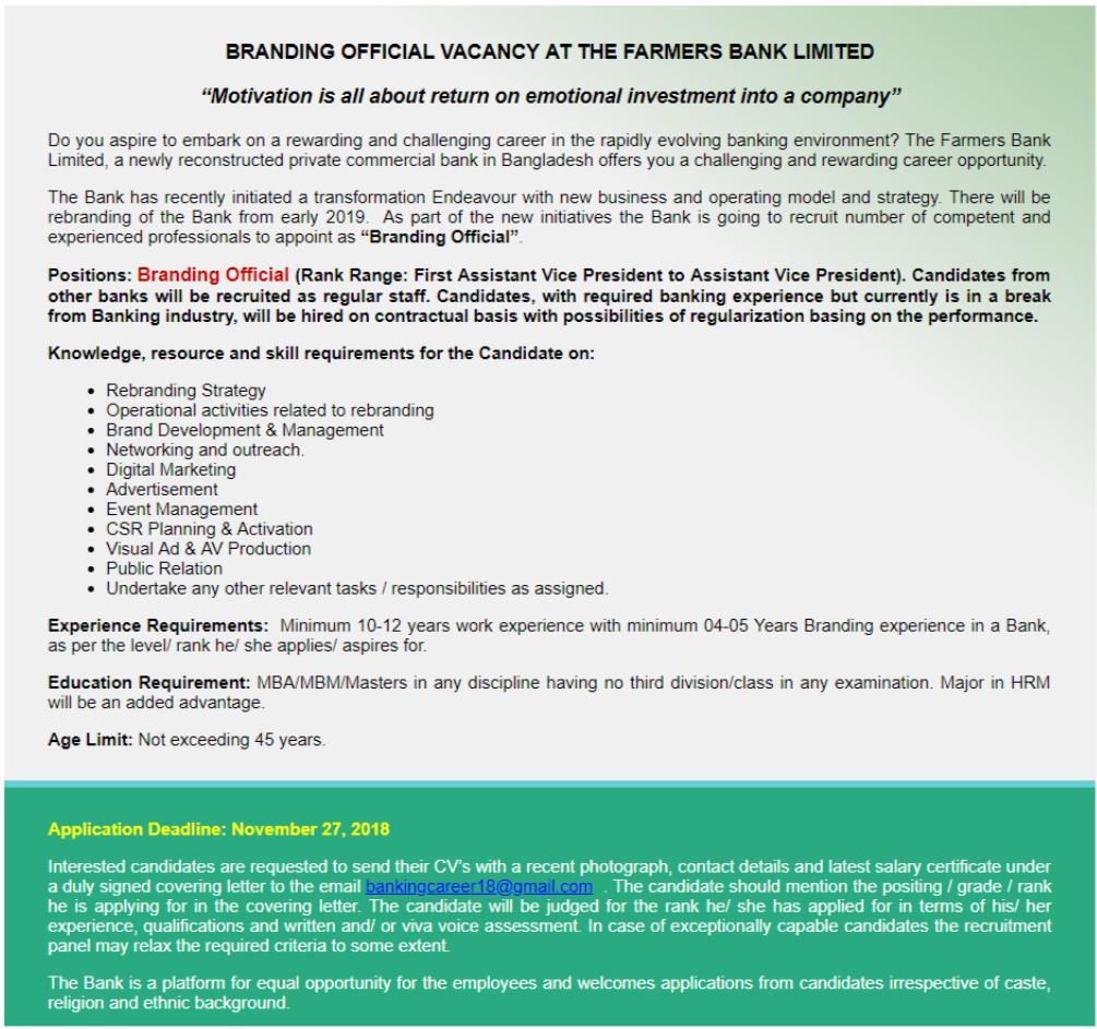 Farmers Bank Limited Job Circular