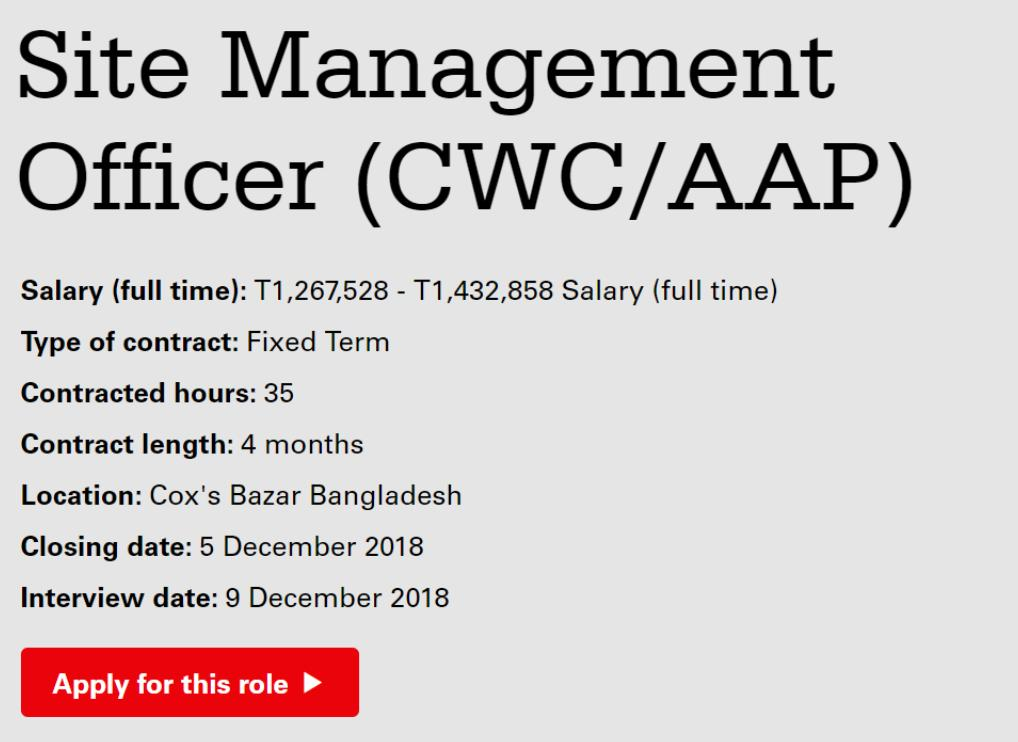Christian Aid - Careers - Site Management Officer (CWC_AAP) (2228)