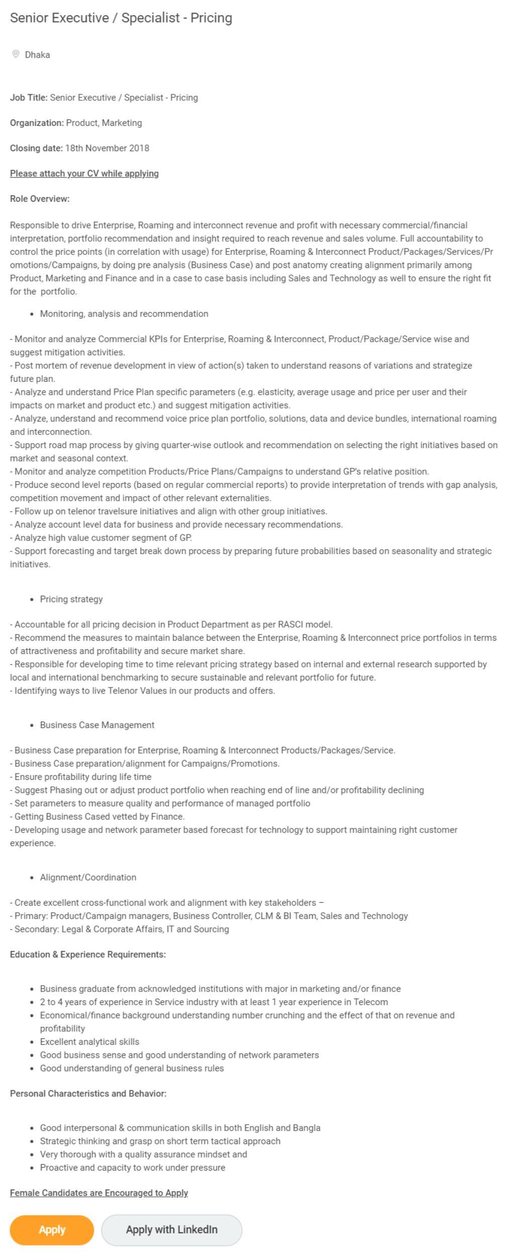 Grameenphone Job Circular 2018 - Apply Online