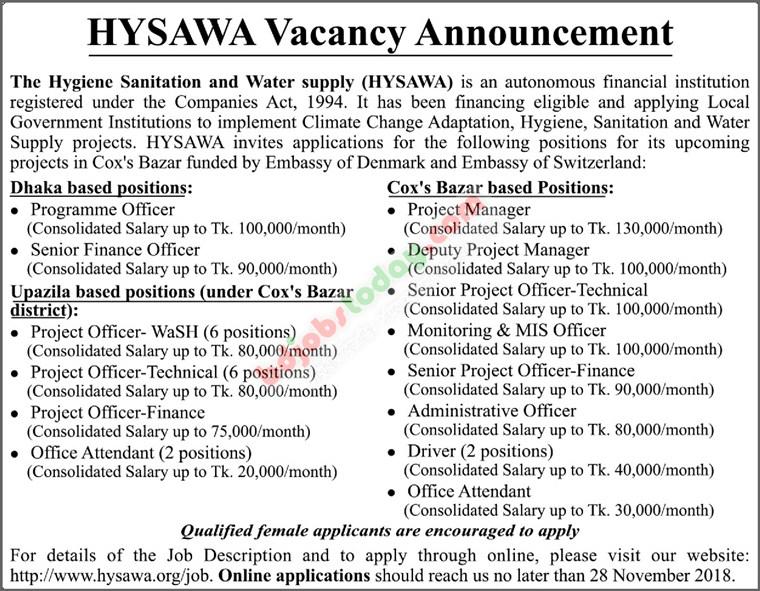 Hygiene Sanitation Water Supply hysawa Job circular - www hysawa org