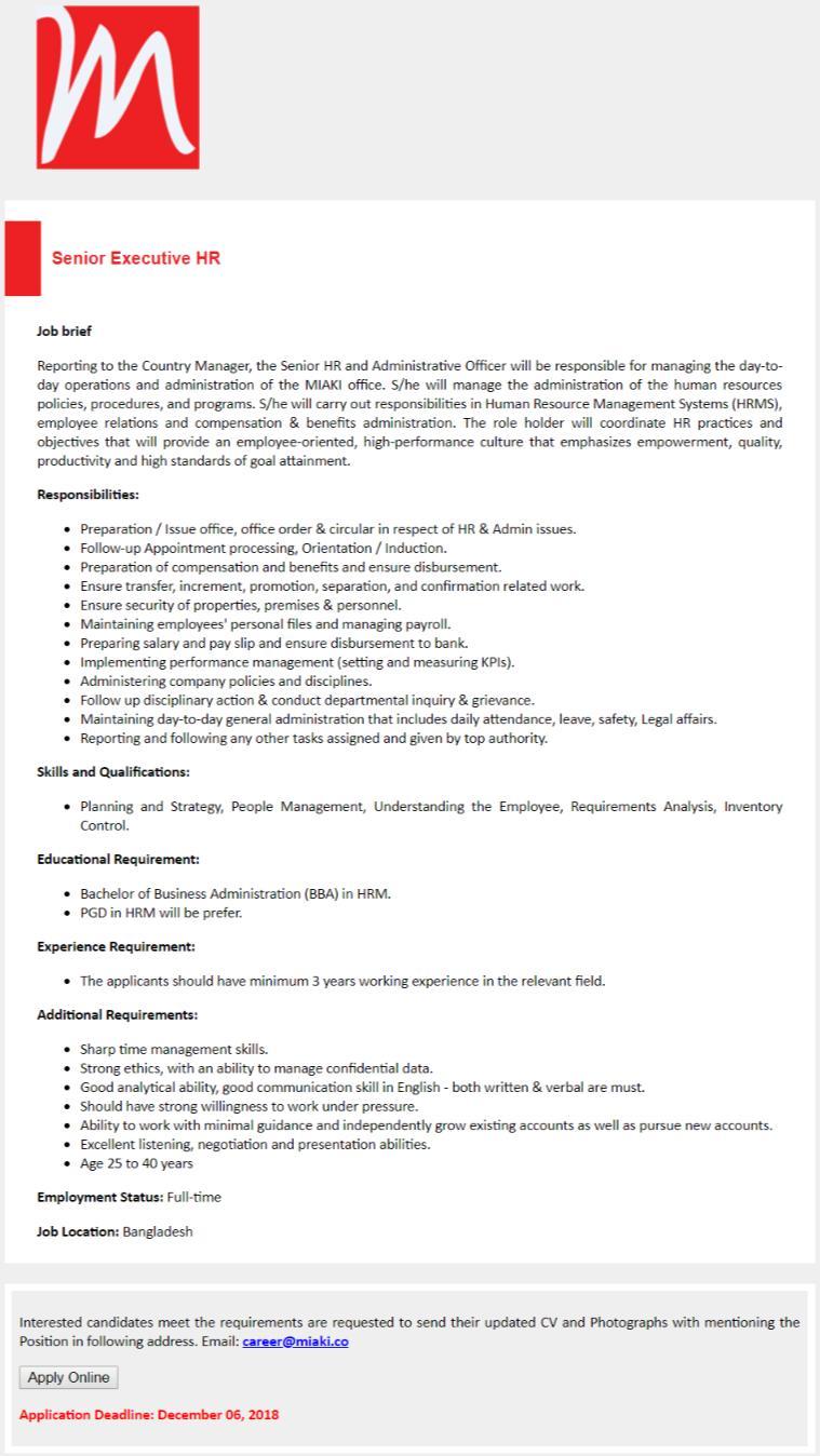 Miaki Media Ltd Job Circular