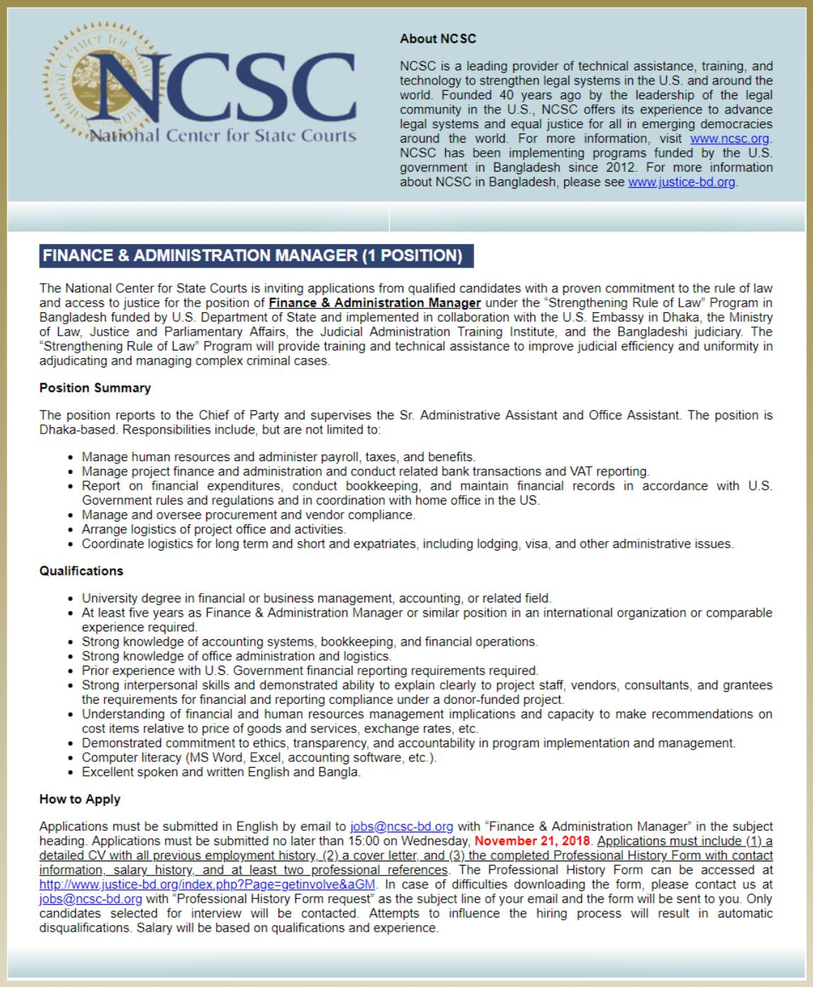 National Center for State Courts NCSC Job Circular -ncsc-bd.org
