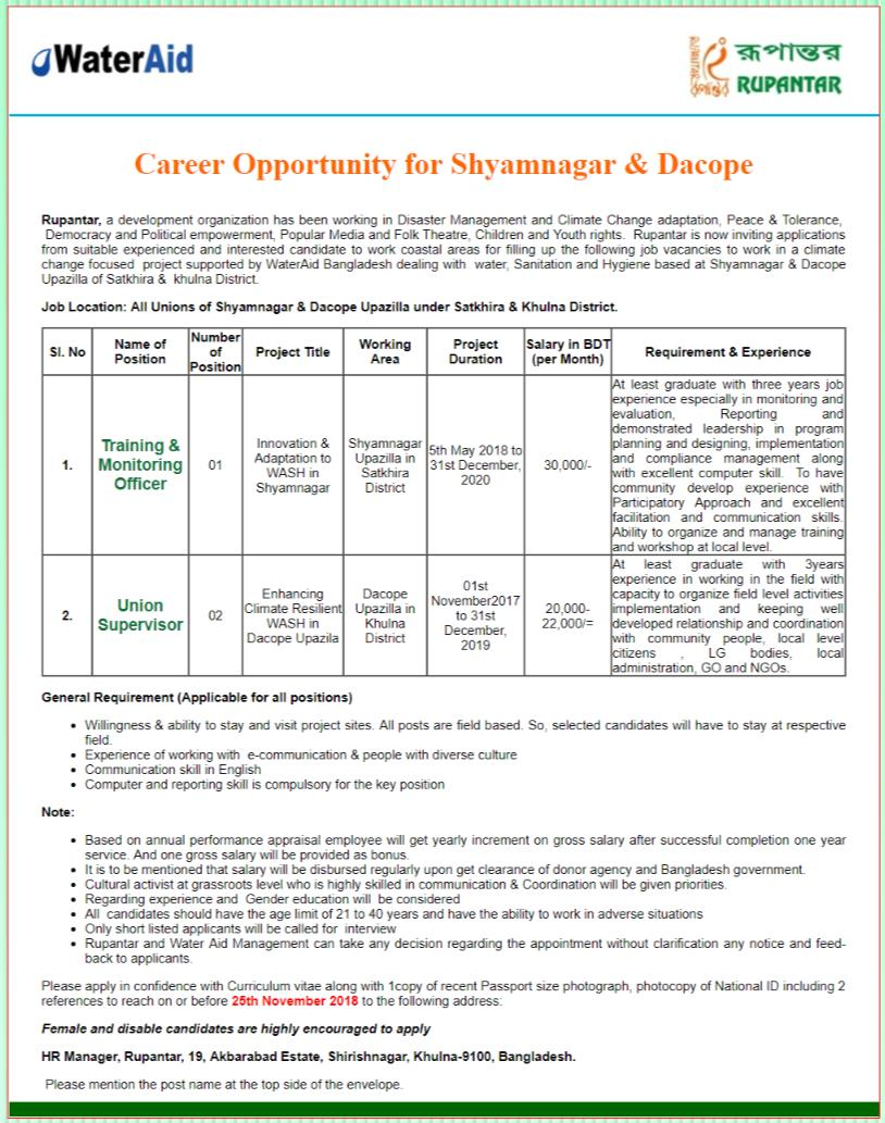 Rupantar Job Circular 2018