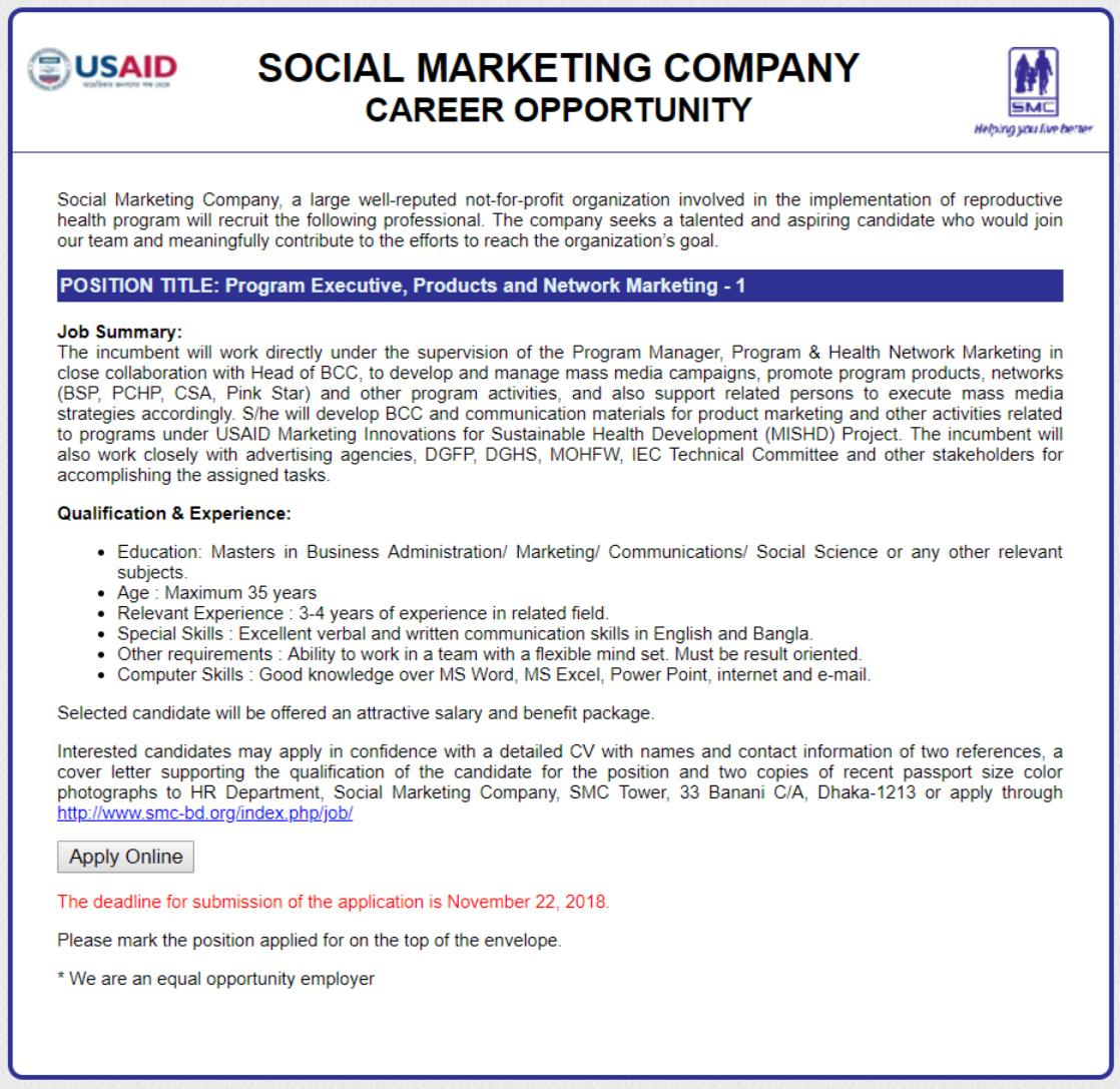 See Social Marketing Company Job Circular