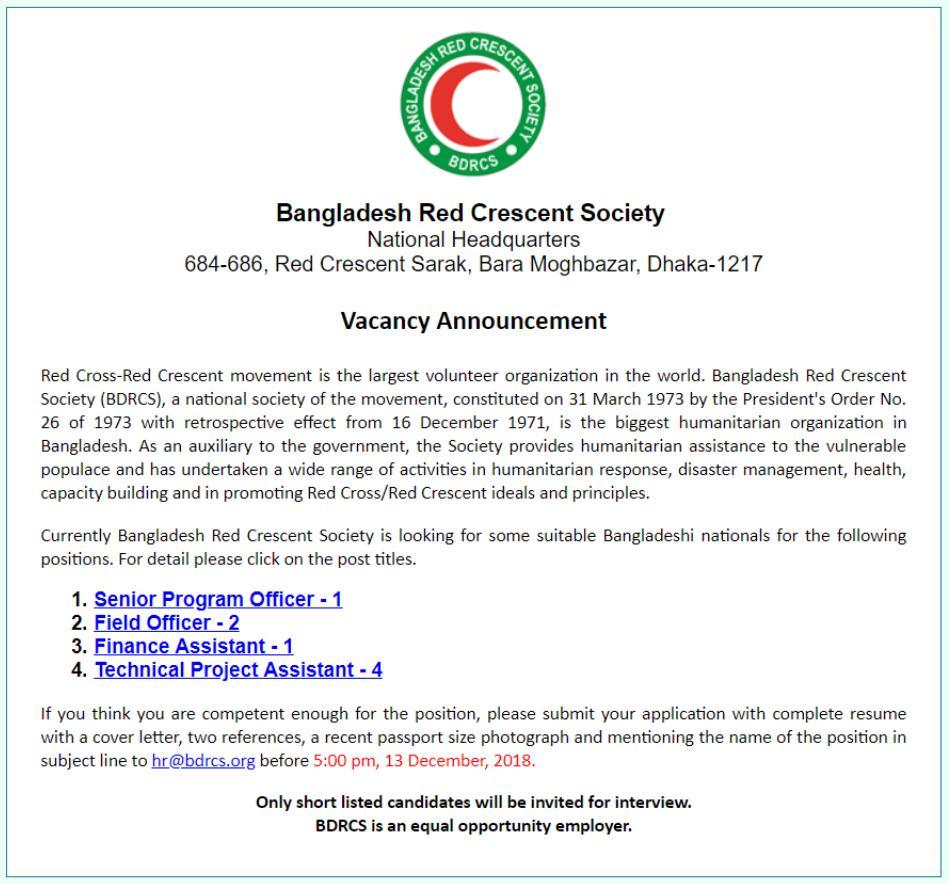 See BDRCS NGO Job Circular
