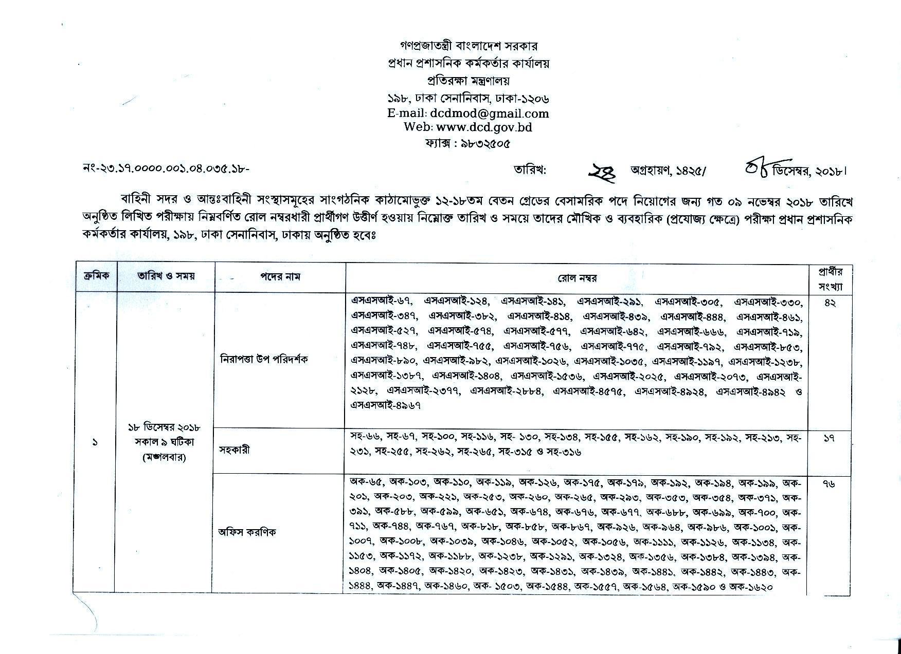 DCD Job Circular Apply - Exam Result