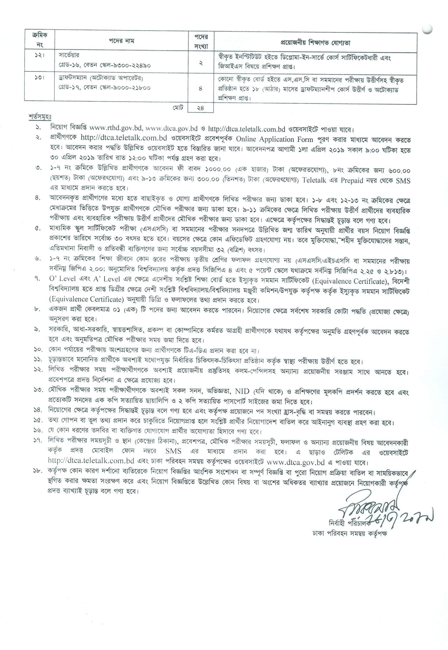 Dhaka Transport Coordination Authority DTCA Job Circular 2019 - 2