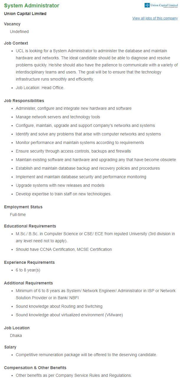 Union Capital Ltd Job circular