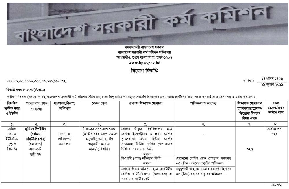 Bangladesh Public Service Commission BPSC job circular apply