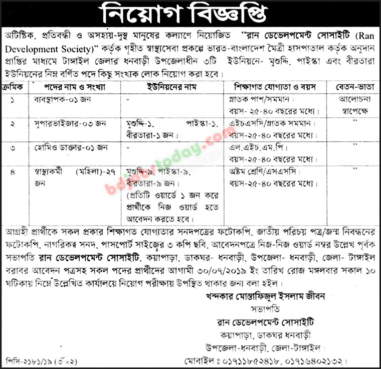 Ran Development Society Job Circular