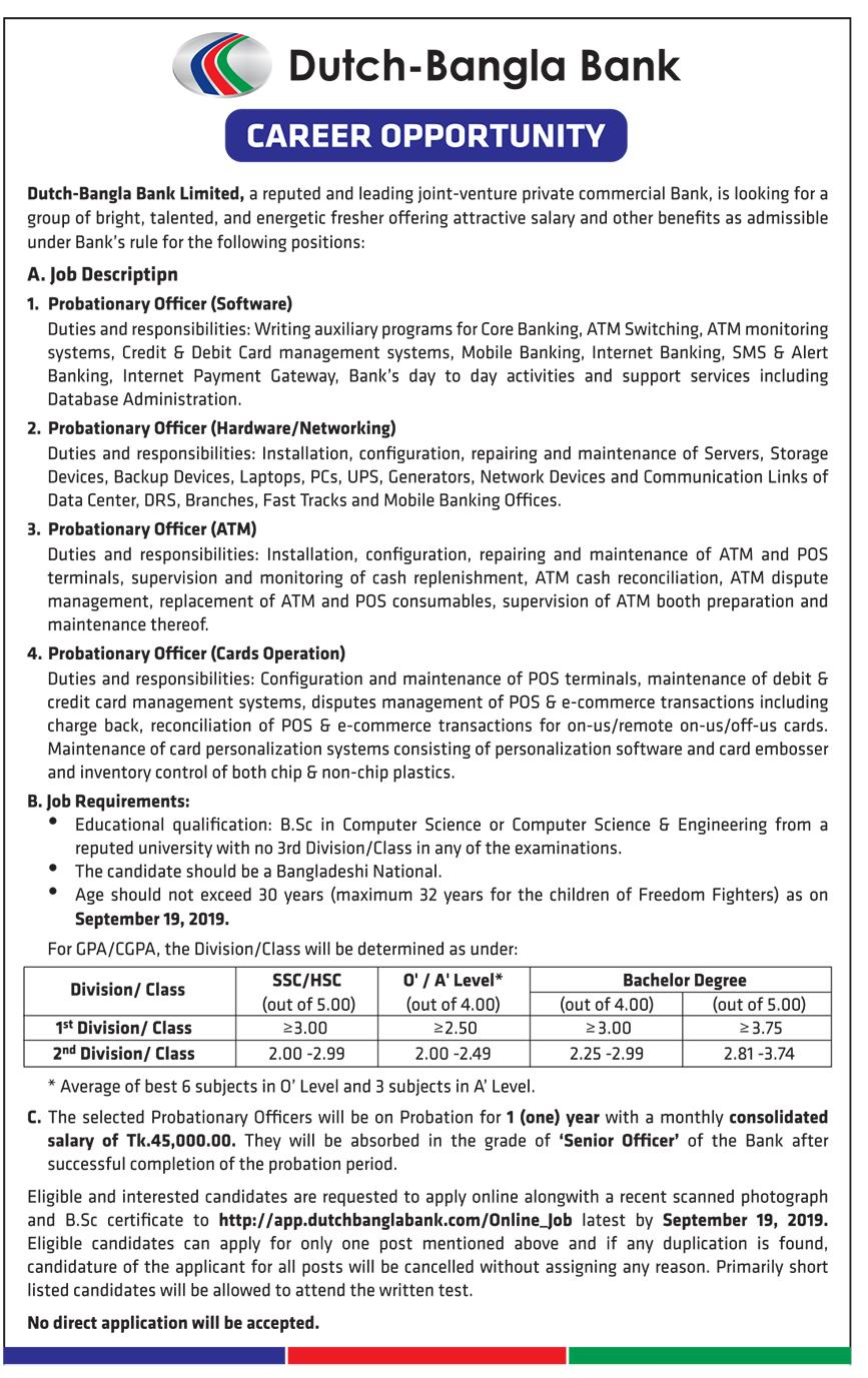 Dutch-Bangla Bank Limited Job Circular 2019