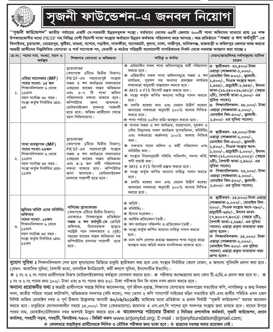 Srijony Foundation Job Circular