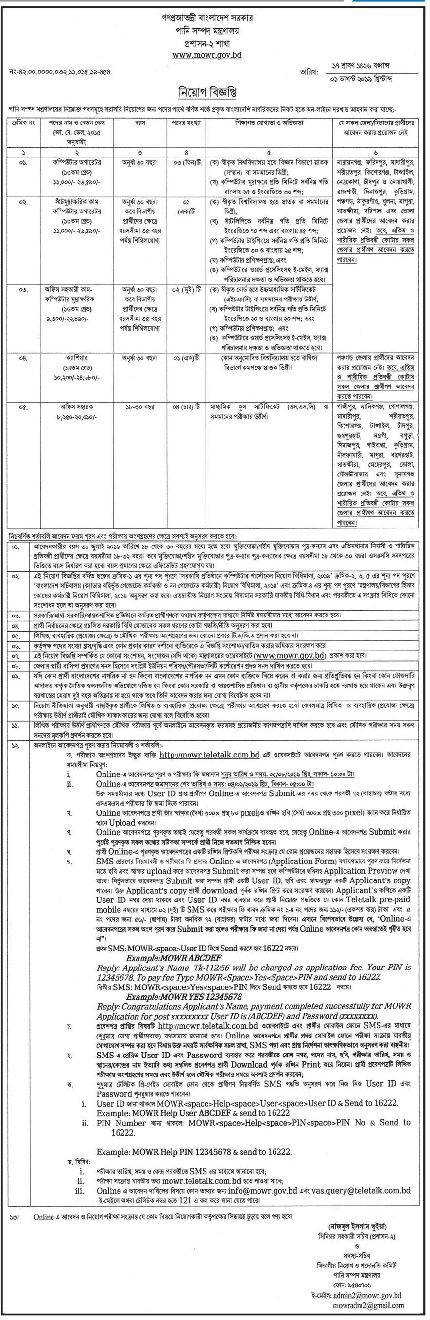 Ministry of Water Resources Job Circular 2020