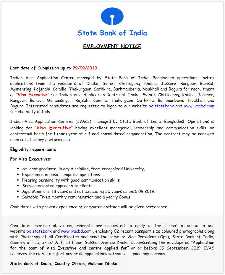 SBI Job Circular in Application 2019