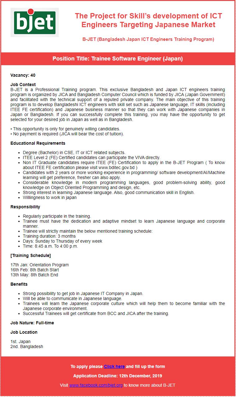 BJET Job Circular 2019