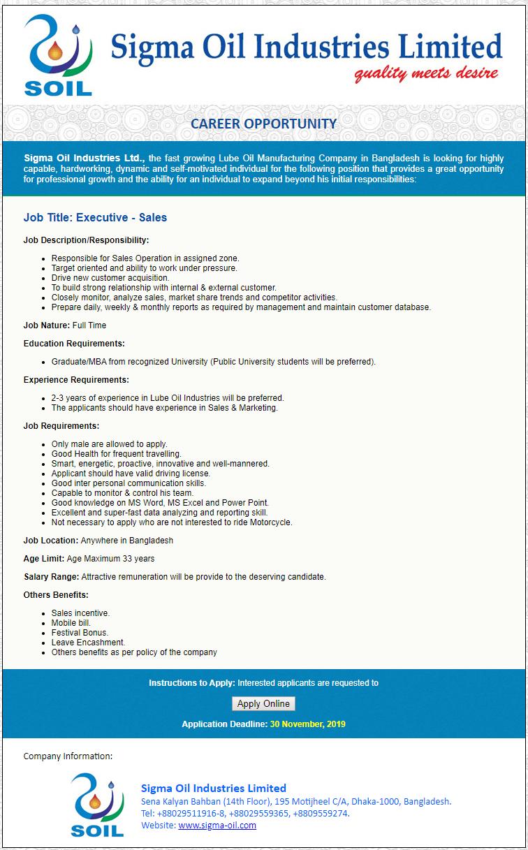 Sigma Oil Industries Ltd Job Circular