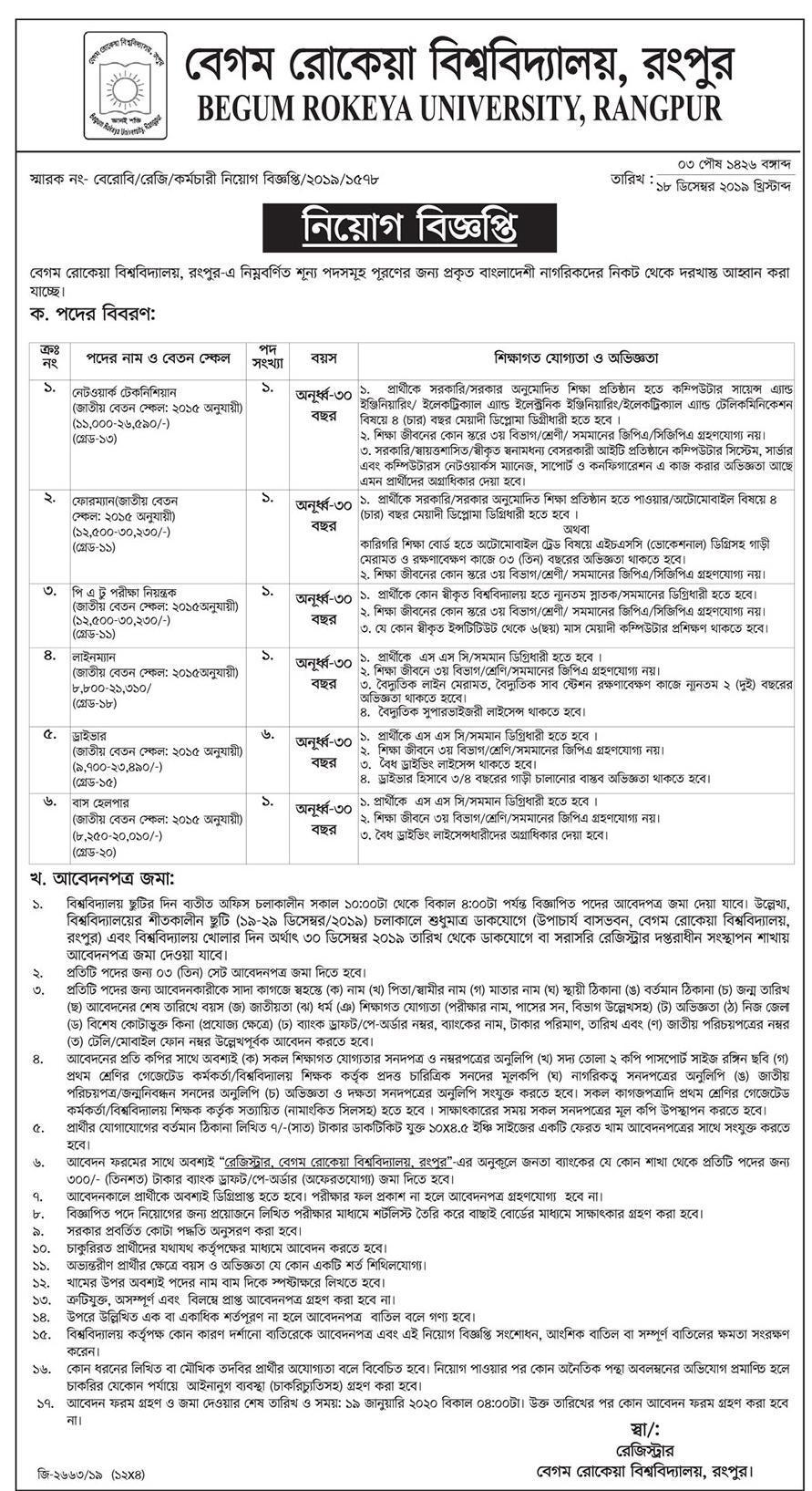 BRUR Job Circular 2019 - brur.ac.bd