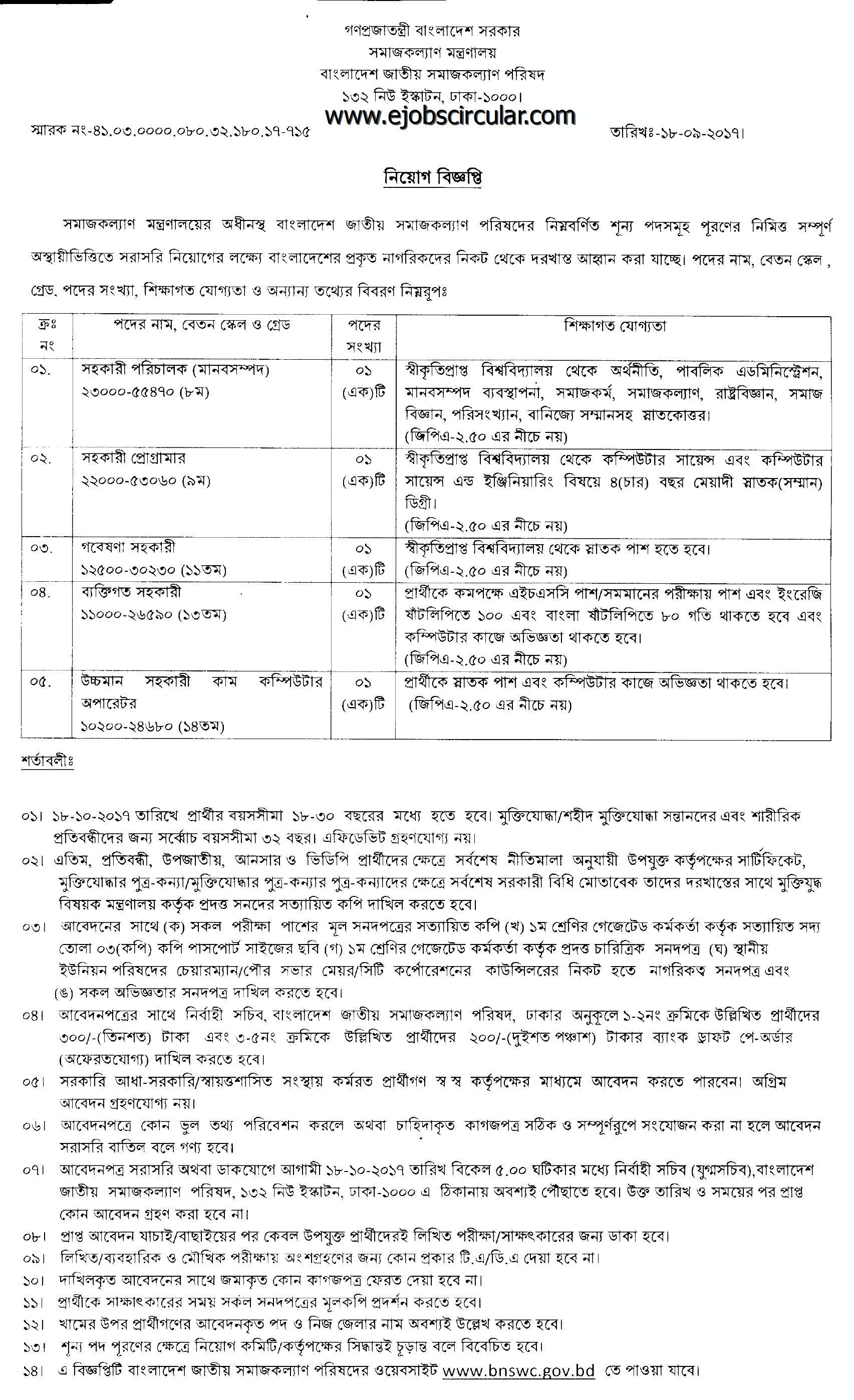 bnswc Job circular