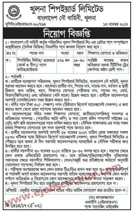 Khulna Shipyard Ltd Job Circular